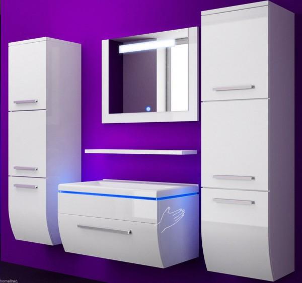 Badmöbel Set Danny 6 Teilig 70 cm Weiss mit zwei Hängeschränken