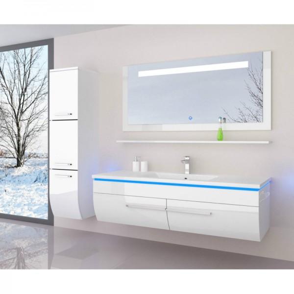 Badezimmermöbel weiss günstig  Badmöbelset Günstig 120 cm weiss Hochglanz lackiert 5 Teilig ...