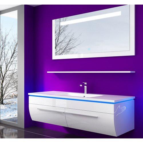 Badmöbel Set Danny 4 Teilig 120 cm Weiss Waschbecken Spiegel Hochglanz lackiert Kuru